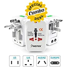 GKP Products Combo of -3 1x Universal World Wide Travel Adapter, 1x Premium Konnect 3.5mm AUX/Braided Audio Cable & 1x Solo Bass HD Headphone