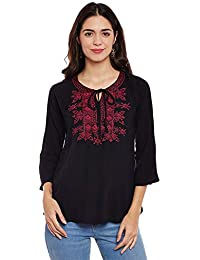 Forelevy Black/Embroidery Rayoncrep Short Western wear top's for Women