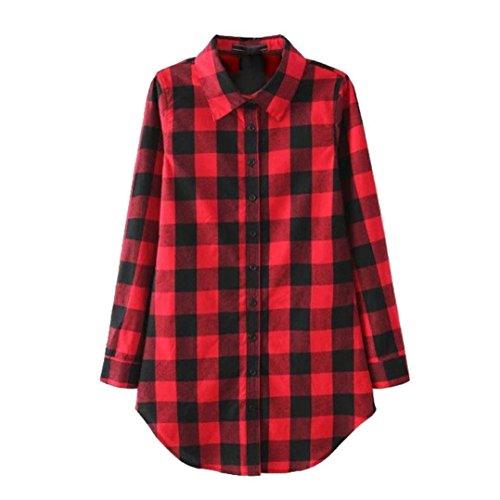 Amlaiworld Femmes Coton Chemise à carreaux Casual Blouse Rouge