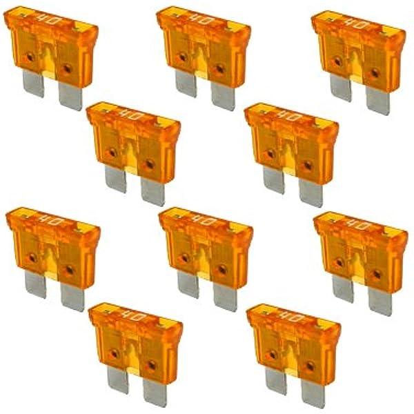 10 X Flachstecksicherung Sicherung 40a 32v Orange Auto