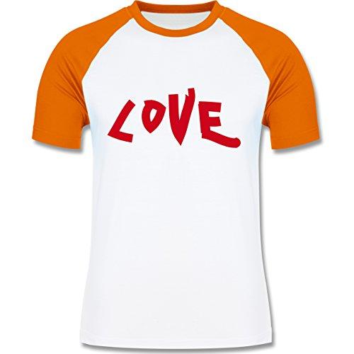 Romantisch - Love - zweifarbiges Baseballshirt für Männer Weiß/Orange