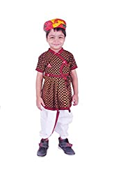 RTD Traditional Ethnic Red Black White Kids Boy Pagdi Angrakha Dhoti Dress