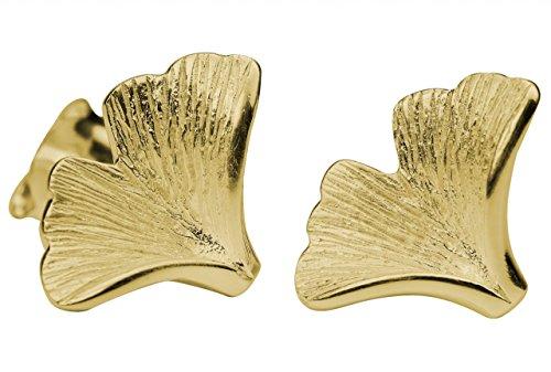 SILBERMOOS Damen Ohrstecker vergoldet Blatt Ginkgo matt Sterling Silber 925 Ohrringe