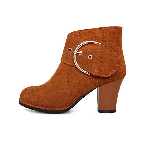 ZQ@QXL Europa e gli Stati Uniti codice metallo calzature della fibbia della cintura di sicurezza e scarpe con i tacchi alti stivali scrub spessa Coffee