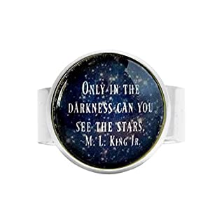 aaaAA ML King Jr. Zitat Sterne Zitat Dunkelheit Zitat Glas Verstellbarer Ring Ermutigende Zitate