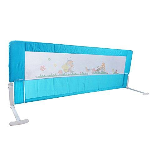 Bettgitter Bettschutzgitter Klappbar Tragbares Faltbar bettschutzgitter für Baby Kinder 180 cm/ 150 cm (Rosa/Blau) (Blau 150 cm)