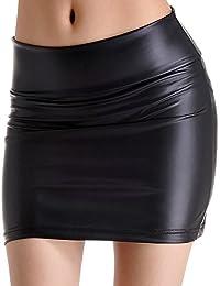Amur Leopard-Falda Elástico en la cintura De Cuero del faux De Tubo Ajustado Mini Corto Corta De Verano Para Mujer Negro