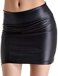 Amurleopard mini jupe femmes simili-cuir noir mat