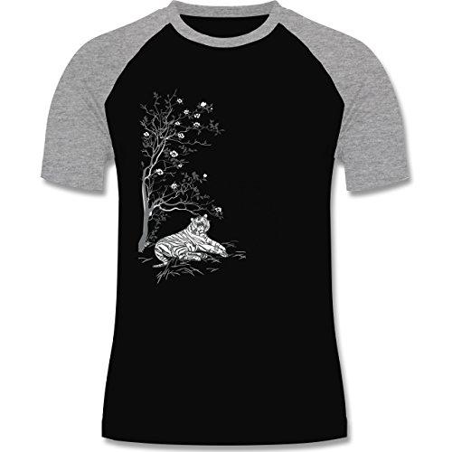 Vintage - Tiger Kirschblüten Baum - zweifarbiges Baseballshirt für Männer Schwarz/Grau Meliert