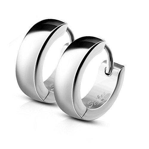 Bungsa CREOLEN mit Clipverschluss Edelstahl silber | 1 Paar = 2 Stück | für Damen & Herren/Frauen & Männer - modische KLAPPCREOLEN Ohrstecker Ohrringe silberfarben - Huggie Earrings silber
