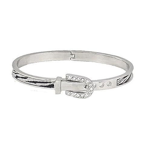 Bracelet Jonc Zebra Argent Boucle de Ceinture Menottes pour femme cristal