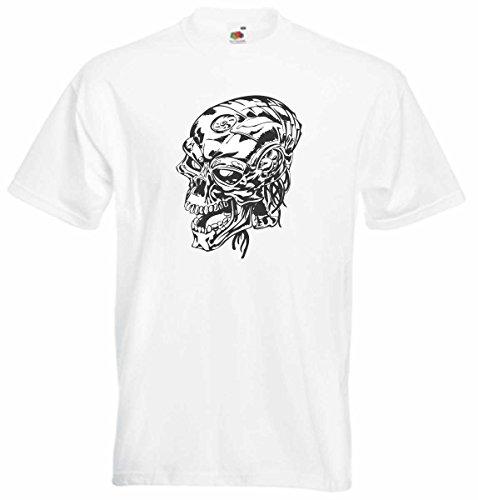T-Shirt D553 T-Shirt Herren schwarz mit farbigem Brustaufdruck - Design Tribal Comic / abstrakte Retro Grafik / Totenkopf Hybrid Weiß