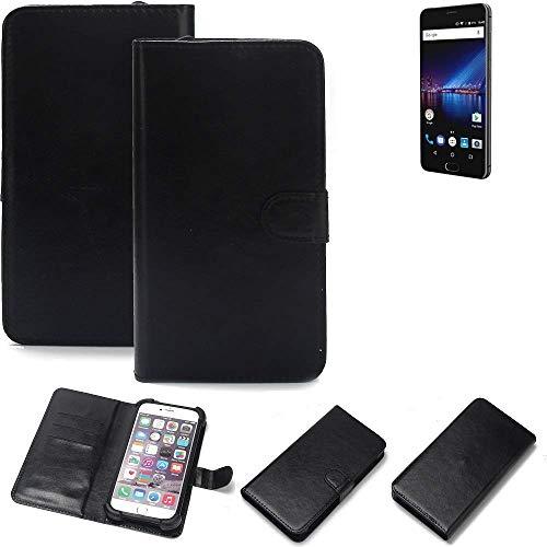 K-S-Trade Wallet Case Handyhülle für Phicomm Passion 4 Schutz Hülle Smartphone Flip Cover Flipstyle Tasche Schutzhülle Flipcover Slim Bumper schwarz, 1x