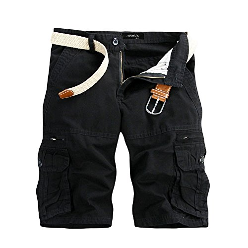 Aiserkly Männer Casual Pure Color Outdoor Pocket Strand Arbeitshose Cargo Shorts Hose Schwarz 34