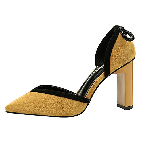 B1-2 Size34-39 Female Colors Flock Sandals Woman Cover Heels Shoes Ladies Bowknot Career Dress Shoes Woman 9cm High Heels Shoes Yellow 36
