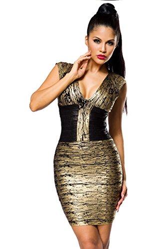 Atixo Bandage-Shape-Kleid - gold/schwarz, Größe Atixo:S