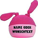 KLEINER FRATZ Baby 2-Zipfel Mütze (Farbe rot-fuchsia/rosa) (Gr. 2 (KU: 39-52) (Gr. 68-98) mit Ihrem Wunschtext