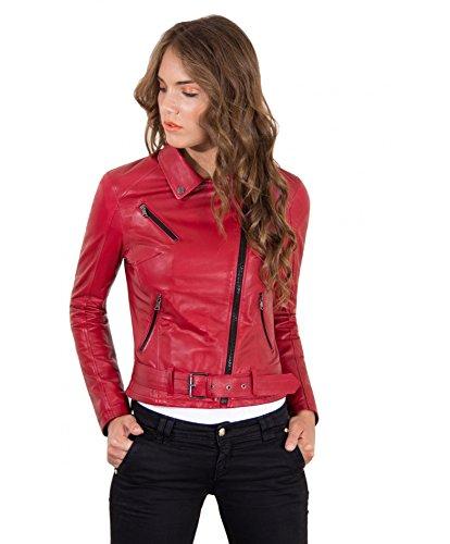 Giacca in vera pelle Chiodobiker Made in Italy, cerniera trasversale, cintura, colore rosso, taglia XS