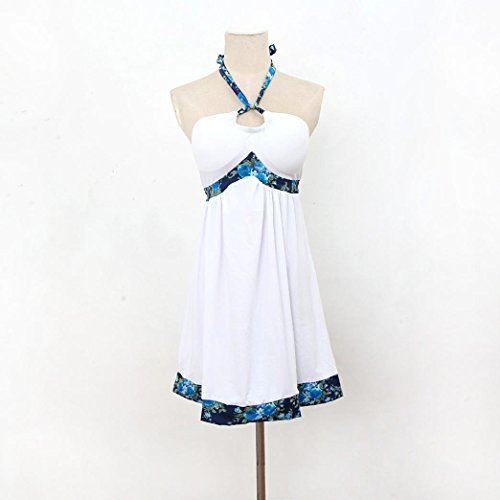 Oyedens Feder Sommer Tiefer Strand Backless Langes Kleid Weiß