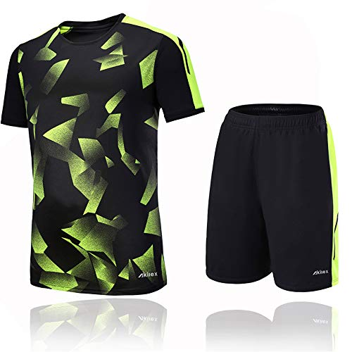 58720a7b950 Football Jersey Shirt + Shorts Men s Soccer Shorts Set Training Jersey 100%  Polyester Breathable Quick
