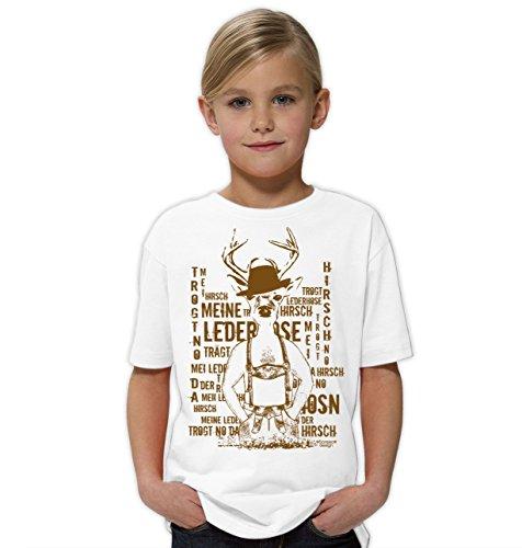 Kinder Mädchen Girlie Kurzarm Trachten T-Shirt Outfit zum Volksfest Oktoberfest Wiesn :-: Geburtstagsgeschenk Kids :-: Meine Lederhose Farbe: Weiss Gr: 134/146