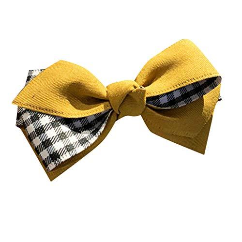 kolila Damen Günstige Bogen Stirnband Haarspange Ausverkauf !!! Mode Plaid Haarband Zubehör Stirnbänder Frauen Mädchen(Gelb)