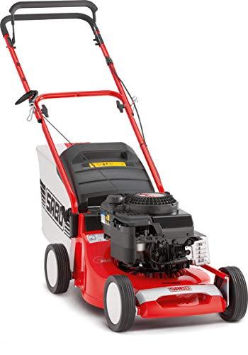SABO Benzin-Rasenmäher 43-Compact, Schnittbreite von 43 cm, Robustes Alu-Chassis, zentrale Schnitthöhenverstellung 22-80 mm, Nennleistung von 2,4 kW, max. Rasenfläche 800 m²/h, Grasfangkorb 55 Liter