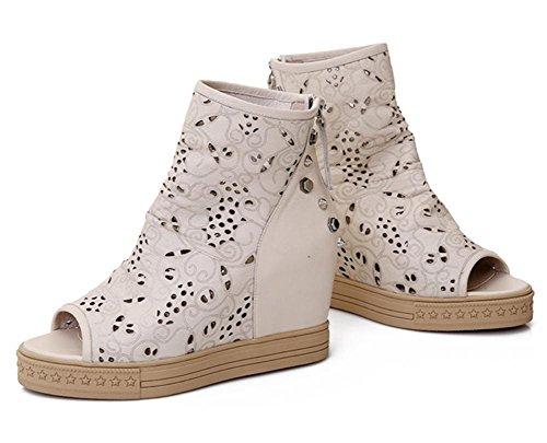 Scarpe estive nuovo primo strato di pelle di pesce bocca pendio con sandali casuali meters white