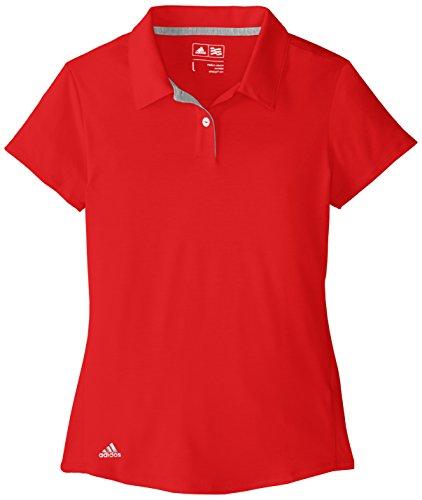 adidas Golf Mädchen Climalite Essentials Short Sleeve Heathered Polo Shirt, Damen Mädchen, Rot, X-Large