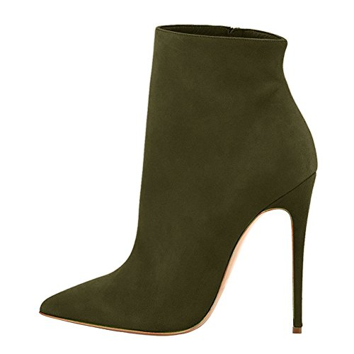 VOCOSI DaSen Geschlossene Spitze Booties Stilettos High Heels Kleid Stiefeletten Schuhe S-Olive 38 EU (Schnalle Stiefel Knie Stiletto Heel)