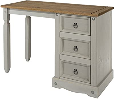 Core Products Corona Grey Single Pedestal Dressing Table - low-cost UK light shop.