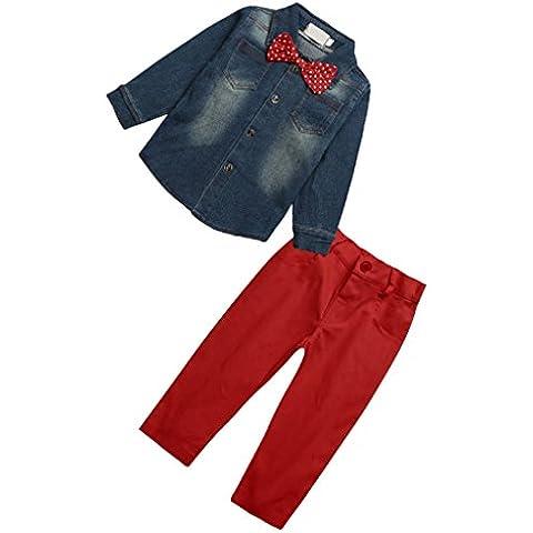 2 Pezzi Bambini Neonato Top Denim Shirt Camicia + Pantaloni Set, Abbigliamento per bambini