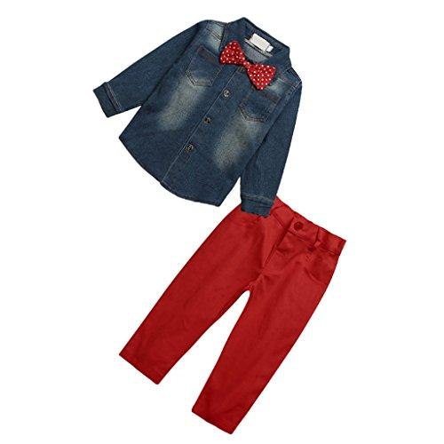 2 Pezzi Bambini Neonato Top Denim Shirt Camicia + Pantaloni Set, Abbigliamento per bambini - Multicolore, Set 8