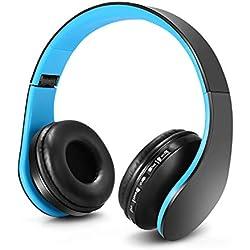 Casque Audio Enfant, Casque pour Enfant, Ecouteurs sans Fil avec Microphone pour Enfants, Casque et Ecouteurs Bluetooth sans Fil, Oreillette stéréo Bluetooth Pliable pour Enfants, Casque-Bleu