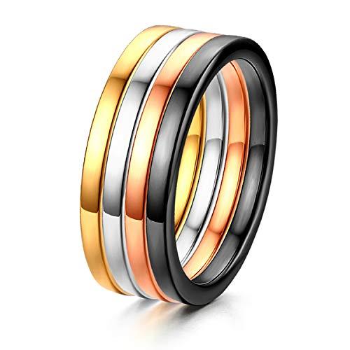 OIDEA Edelstahl Haken Stapeln Damen Ringe Breite 2MM für Frauen Mädchen Hochzeit Verlobungsringe Ringgröße 54 (17.2)