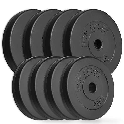 Hop-Sport 30kg Hantelscheiben Sets Gewichte Auswahl: 2x5kg+2x10kg / 4x2,5kg+4x5kg / 8x1,25kg+4x2,5+2x5kg (B: 4x2,5kg + 4x5kg)
