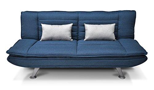Divano letto in tessuto blu marino - divanetto 3 posti - mod. iris con cuscini