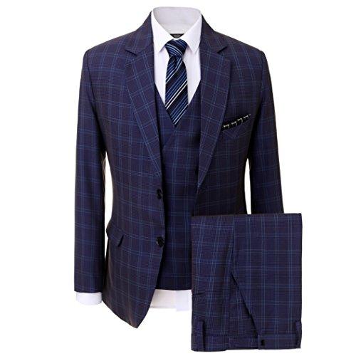 Navy Zwei-knopf-blazer-jacke (Solovedress Herren Formale Dreiteilige Anzüge Zwei Knopf Groomsmen Smoking Geschäft Blazer (Navy Blau,48))