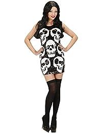 Kostüm Halloween Damen, Kleid Pailletten Skulls * 21840