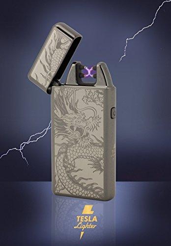 Tesla-Lighter T05 | Lichtbogen Feuerzeug, Plasma Double-Arc, elektronisch wiederaufladbar, aufladbar mit Strom per USB, ohne Gas und Benzin, mit Ladekabel, in edler Geschenkverpackung, Schwarz Drache