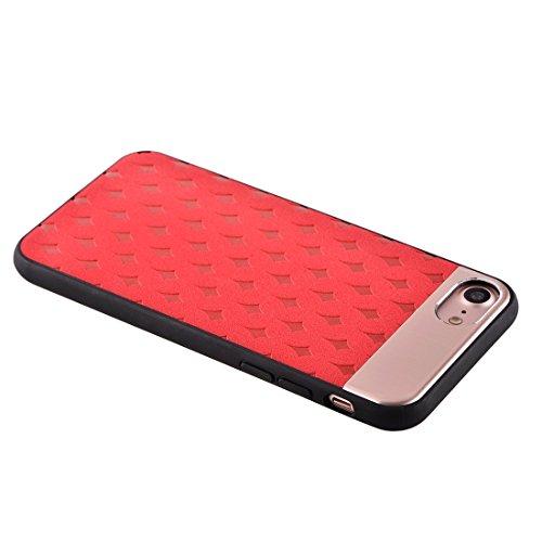 IPhone 7 Fall Blumen-Beschaffenheit Metall + PU-lederner Oberflächenschutz-Fall-rückseitige Abdeckung für iPhone 7 Fall by diebelleu ( Color : Coffee ) Red