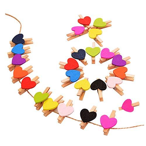 ANZOME 50 Stück Mini holzklammern kleine Herz wäscheklammern Holz Clip für Fotos Papier mit Jute Twine - bunt Herz - Büro-schreibtisch, Birke