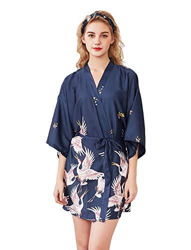 ZAPZEAL Batas para Mujeres Peacock y Flores Kimono Satén Ropa de Dormir Estilo Corto, Azul Marino Grande...