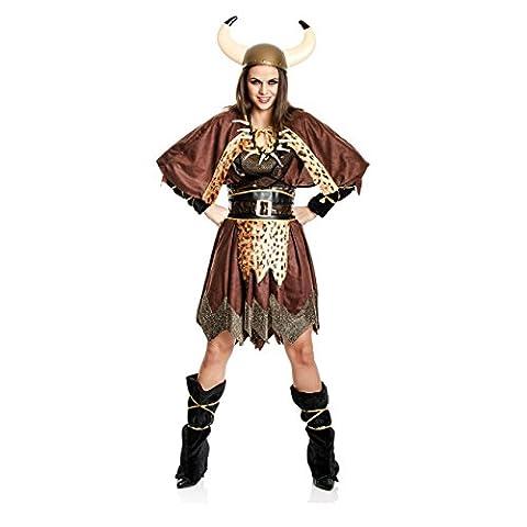 Kostümplanet® Wikingerin-Kostüm Damen Wikinger-Kostüm Frauen 4-teilig Größe 40/42 (Gruppe Von Vier Kostüme)