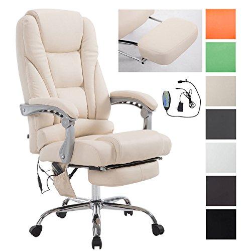 CLP Chefsessel Pacific V2 mit Massagefunktion l Relaxsessel mit ausziehbarer Fußablage l Max. Belastbarkeit von 150 kg l Bürosessel mit Kunstlederbezug Creme