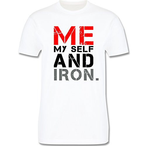 CrossFit & Workout - ME MY SELF AND IRON - Herren Premium T-Shirt Weiß