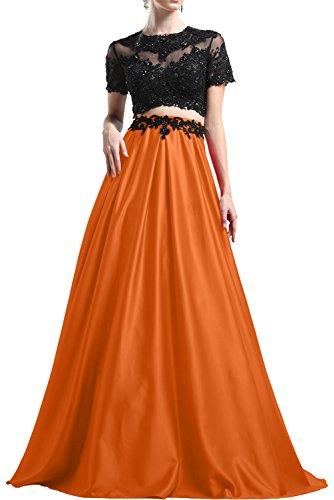 Milano Bride Elegant Rot Abendkleider Partykleider Promkleider Cocktailkleider Bodenlang Orange