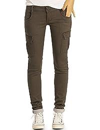 Bestyledberlin Damen Cargohose, Slim Fit Denim Hose, Schmale Military Style Jeans j61i