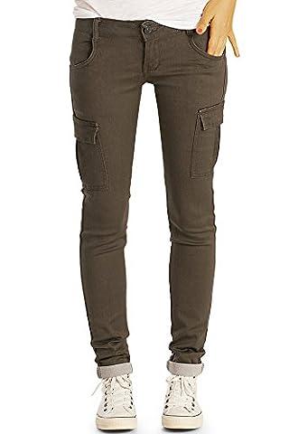 Bestyledberlin Damen Cargohose, Slim Fit Denim Hose, Schmale Military Style Jeans j61i 38/M (Damen Cargo-stil Jeans)