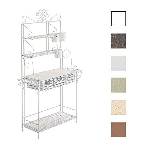CLP XL-Pflanzenregal Shine I Blumenregal mit 4 Ablageflächen und extra Halterungen für Blumentöpfe I erhältlich Weiß